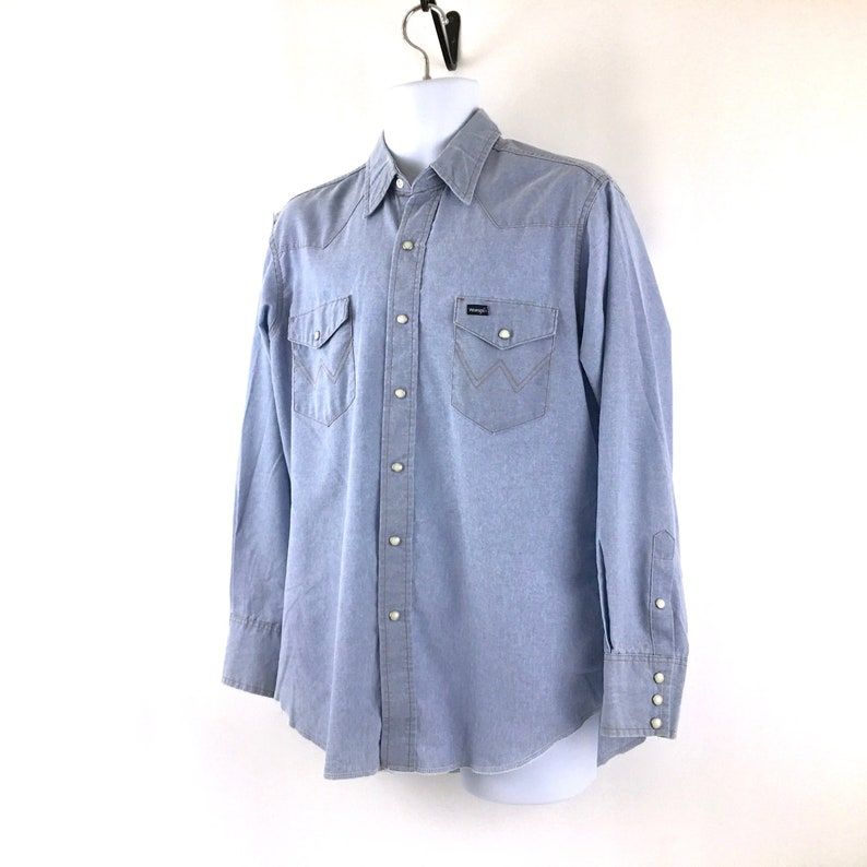 fe21e913db Vintage Wrangler Western Shirt Light Blue Denim Pearl Snap
