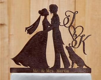 Customized Wedding Cake Topper With Dog, Personalized Cake Topper for Wedding, Custom Personalized Wedding Cake Topper, Couple Cake Topper16