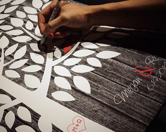 Watercolor Guest Book Tree Custom Wedding Guestbook