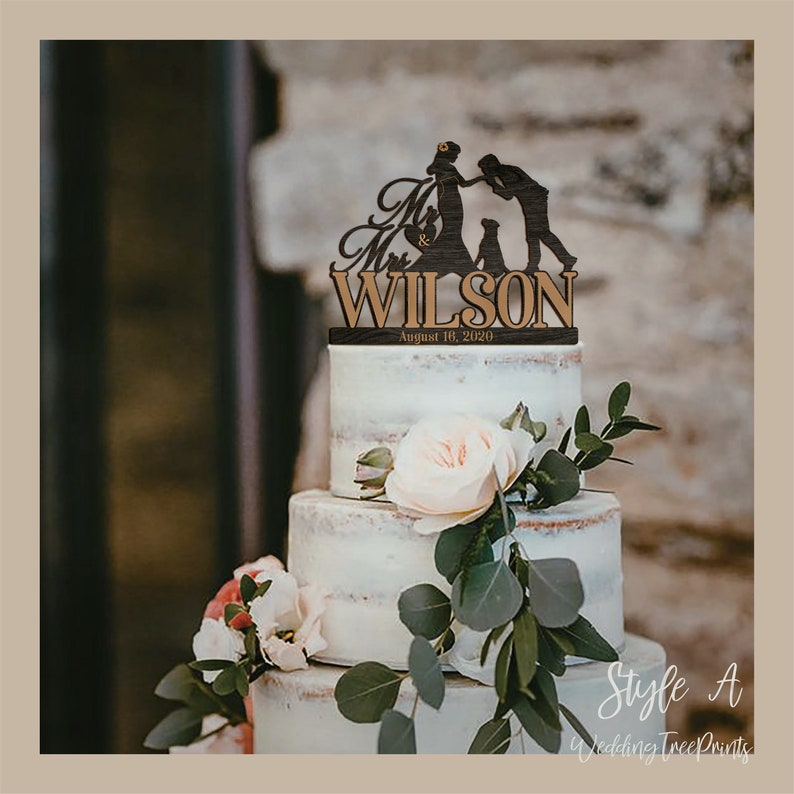Personalized Wedding Cake Topper Mr and Mrs/Rustic wedding image 0