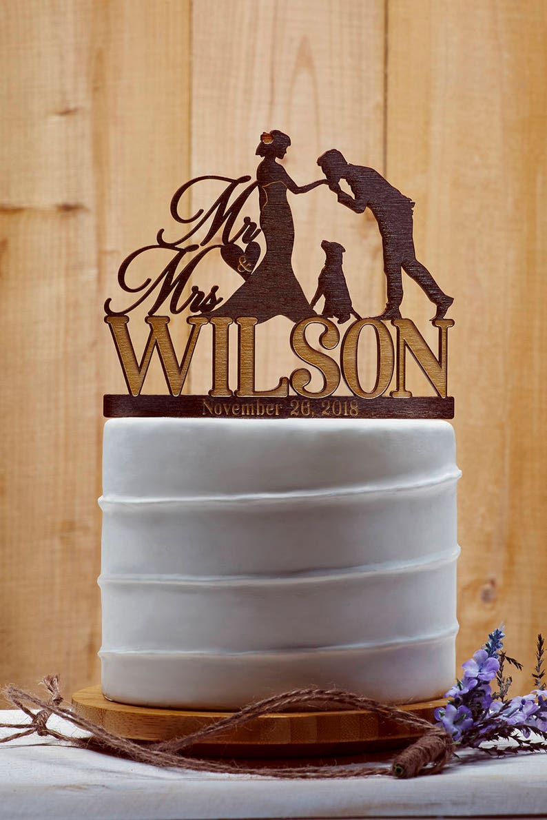 Customized Wedding Cake Topper With Dog Personalized Cake image 0