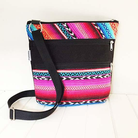 Rainbow Fabric Triple Zip Cross Body Bag Crossbody Bag