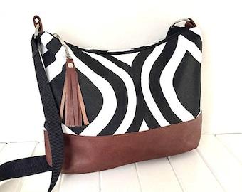 Leather Hobo Bag, Cross Body Hobo Bag,  Leather and Fabric Hobo Bag, Black & white Fabric bag, Fabric Purse, Slouchy Hobo Bag