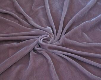"44"" wide purple silk velvet fabric, by the yard. Mauve silk velvet fabric. Evening dress fabric. Couture fabric. Silk velvet fabric."