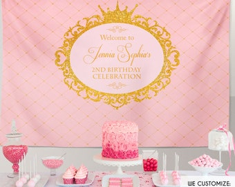 Pink And Gold Backdrop Princess Party Backdrop | Royal Party Backdrop | Any Type Of Event | Any Age | Printed Or Printable File Bbd0016