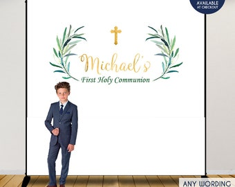 first communion backdrop greenery eucalyptus leaves backdrop baptism backdrop religious photo backdrop printed or printable file bfc0016