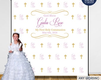 first communion photo booth backdrop custom step and repeat backdropreligious bannerprinted or printable any colorfree shipping bfc0006