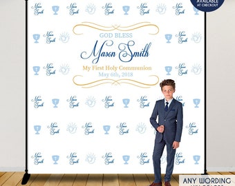 first communion photo booth backdrop custom step and repeat backdropcalice and dove decorprinted and printable filefree shipping
