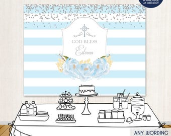 baptism party backdrop light blue striped floral banner blue peonies first communion banner printed or printable file bar0002