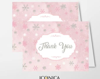 Christmas Thank You Cards, Winter Wonderland Cards/set Of 10/A2 Folded/A2 Envelopes Included/Non Personalized-Printed Cards TCF0006