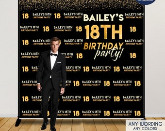 Birthday Photo Booth Backdrop 18th Party Decor Black And Gold Vinyl Any Age Or Color Printed Printable File BBD0116