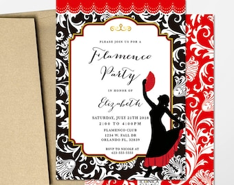 Flamenco Party Invitation Printables Fiesta Espaola Decorspain Decorations PersonalizePrinted Or Printable Free Shipping