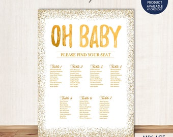 BABY SHOWER Seating Chart Board Oh Baby Gold Guest List Any Color Confeti Template Or Printed SCW0013