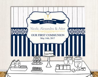 first communion backdrop rustic backdrop navy blue first communion photo backdrop printed or printable file bfc0008