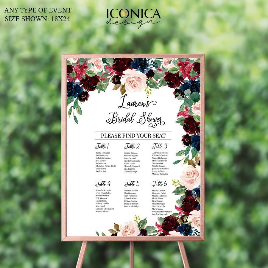 navy and burgundy bridal shower seating chart boardfloral navy blush burgundy decorprinted seating chartguest list chart templatescw0029