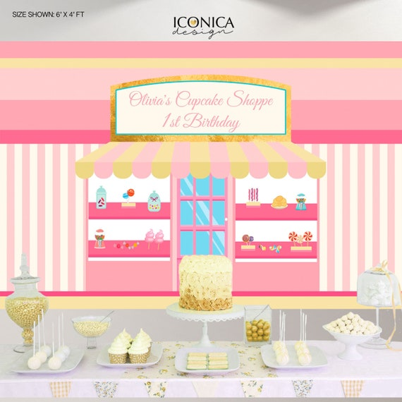 Bakery Backdrop Candy Shop Birthday Backdrop Cupcake 1st Birthday Party Decor Sweet Shoppe Party Backdrop Any Age Baking Party Bbd0080 By Iconica Design Catch My Party