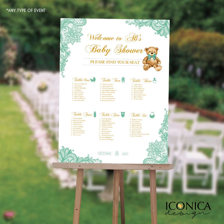 Baby Shower Seating Chart Board, Mint green LACE, Printed Seating ...