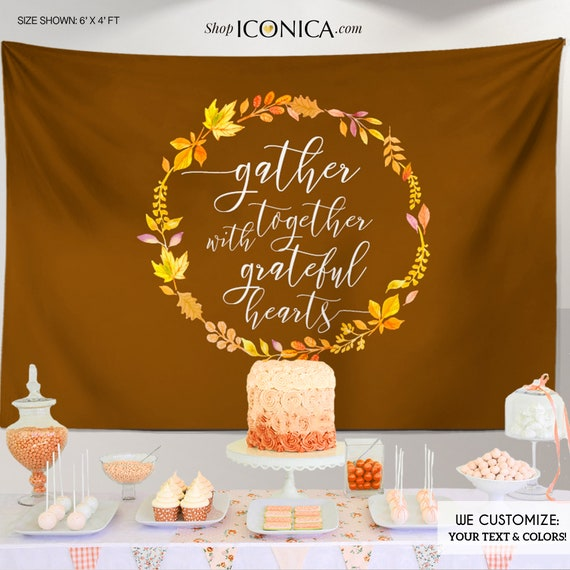 Fall Party Decorations,Thanksgiving Backdrop,Personalized Thanksgiving Dinner Decor,Thanksgiving Feast Banner,Thanksgiving Decor BHO0040