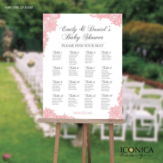 Seating Chart Board Elegant Baby Shower Seating Chart Guest List Chart Seating Chart Template Any Event Digital Or Printed Scw0005 By Iconica Design Catch My Party