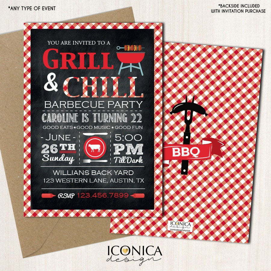 barbecue birthday party invitation bbq invitation barbecue party red