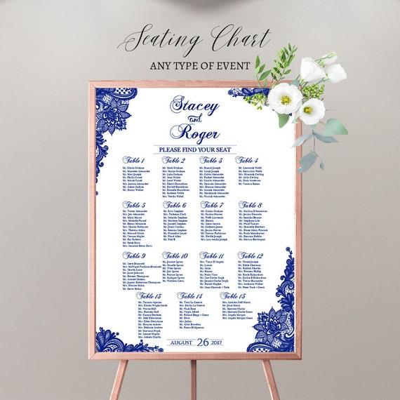 wedding seating chart board elegant royal blue printable printed
