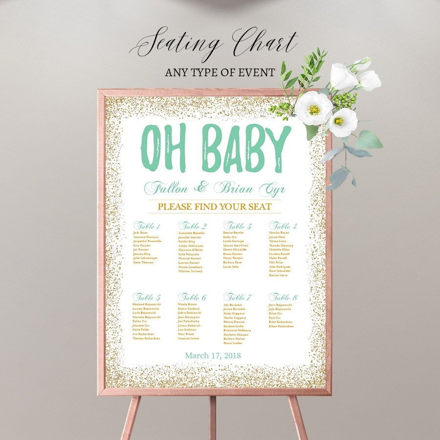 BABY SHOWER Seating Chart Board Oh Baby Gold And Mint Guest List Any Color Template Or Printed SCW0027