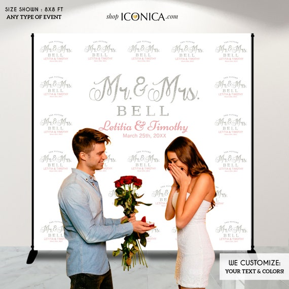 Photo Booth Backdrop Custom Step And Repeat Backdrop Banner Engagement Party Wedding Backdrop Red Carpet Printed Or Digital File BWD0012