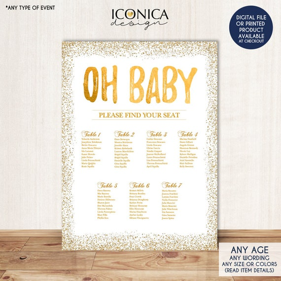 BABY SHOWER Seating Chart Board Oh Baby Gold