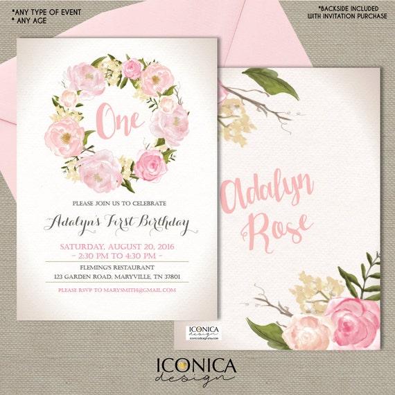 Floral first birthday invitation garden party invitation pink etsy image 0 stopboris Choice Image
