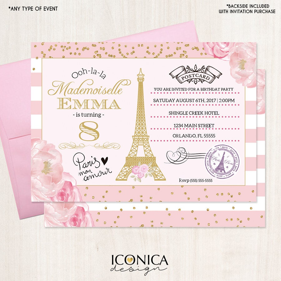 Paris First Birthday Invitation Pink And Gold Floral Invite Parisian Party White Stripes Printed Or Printable File