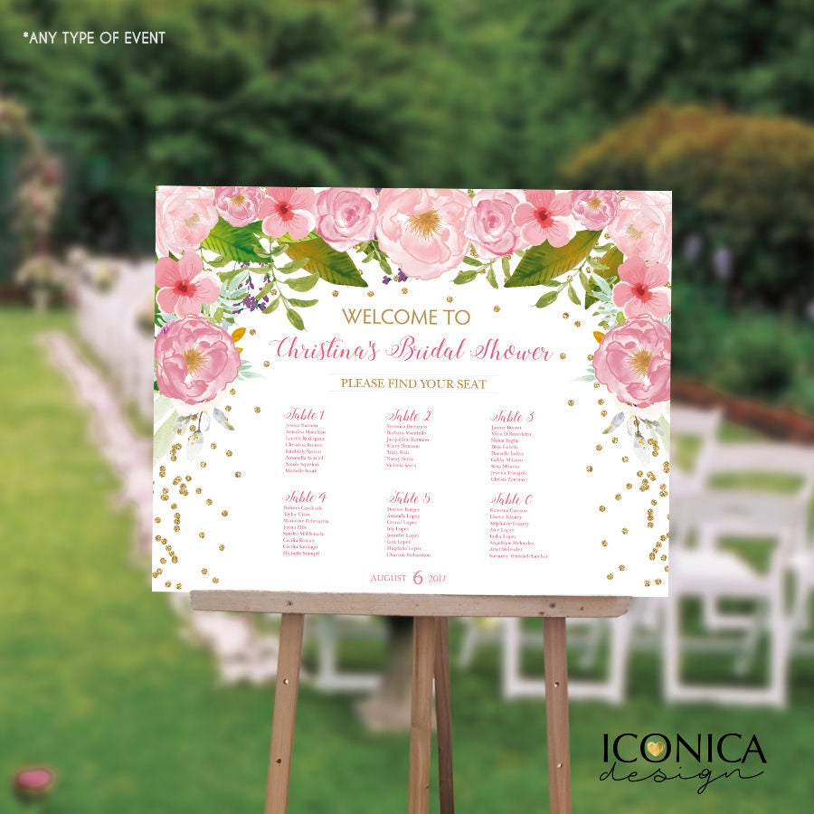 bridal shower seating chart board floral pink gold confetti