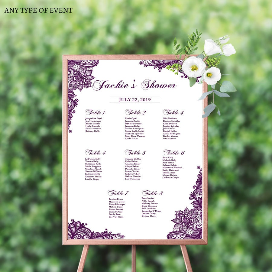 Baby Shower Seating: Baby Shower Seating Chart Board Purple LACE Baby Shower