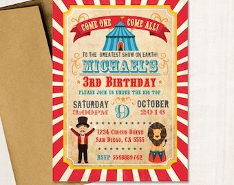 Circus Birthday Party Invitation - Vintage Carnival Birthday Invitation Circus Animals Under The Big Top - Printed Or Printable File Ibd0023