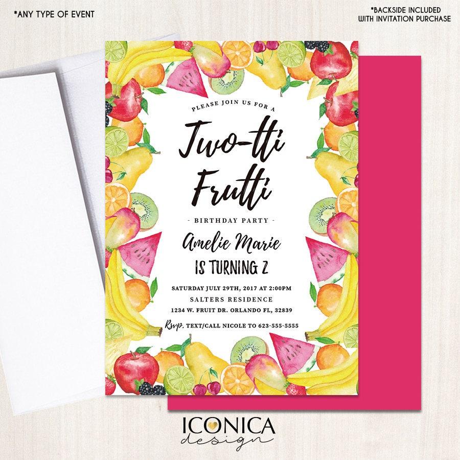 Two-tti Frutti Birthday Invitation, Tutti Frutti Swim Bash, Summer ...