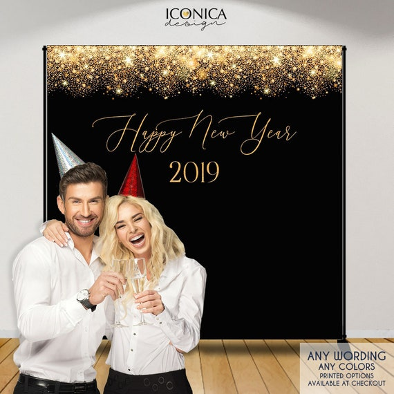 Nye Party New Years Eve Party Photo Booth Backdrop Black And Faux