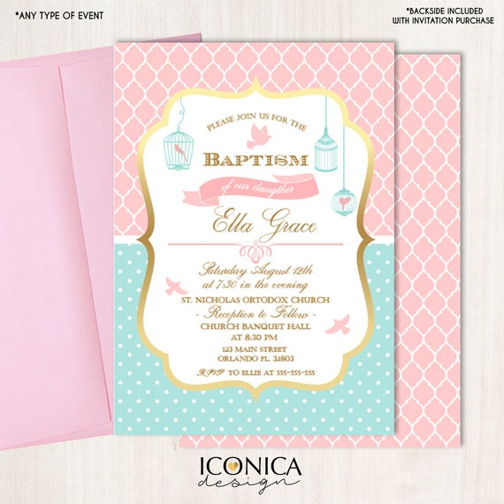baptism invitations pink and mint peace dove religious etsy