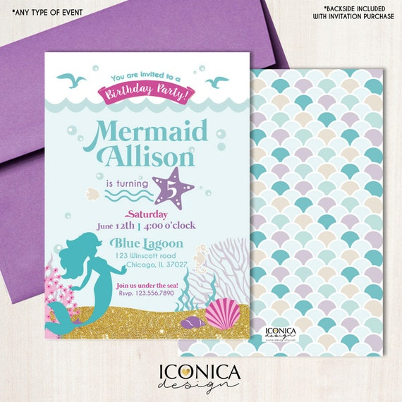 Mermaid Birthday Party Invitation 1st