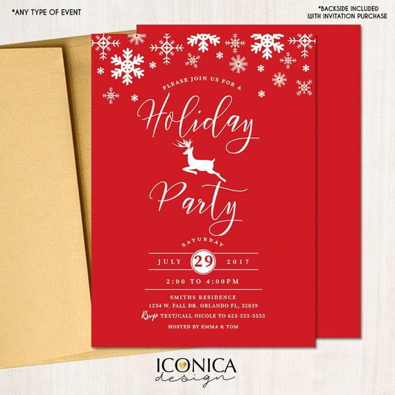 Christmas In July Invitations Free.Christmas Cards Holiday Party Invitations Elegant Red And