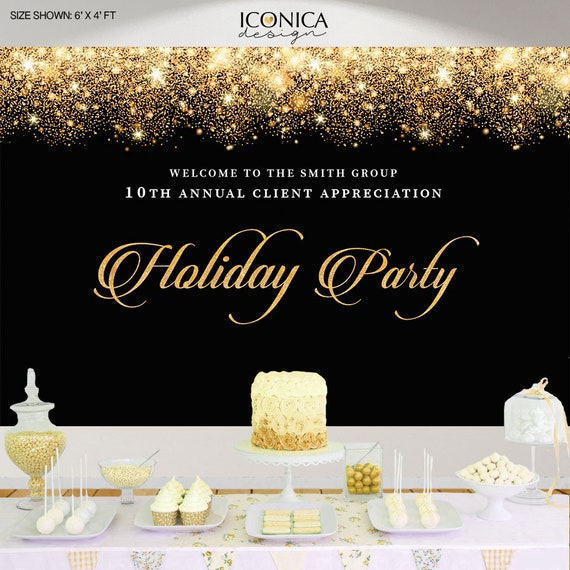 Holiday Party Backdrop, Black And Gold Sparkles Party