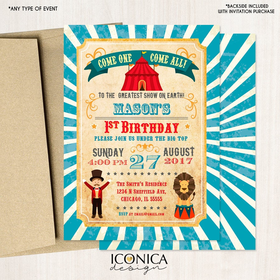 Boy Circus Birthday Party InvitationVintage Carnival Invitation AnimalsUnder The Big TopPrinted Or Printable File IBD0042