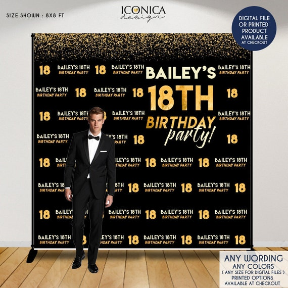 Birthday Photo Booth Backdrop, 18th Birthday Party Decor