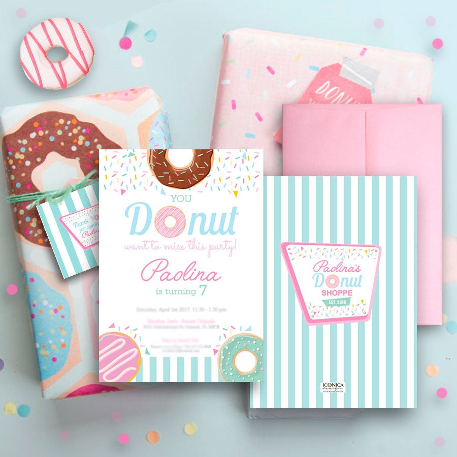 Donut Party Invitations Donut Birthday Party Sprinkle Party Baby
