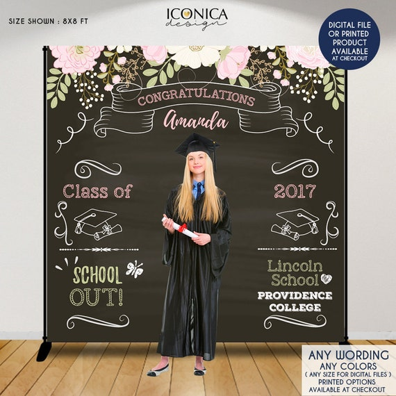 graduation party photo booth backdrop floral graduation step and