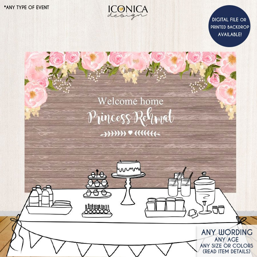 Pink Floral Welcome Baby Backdrop Rustic Dessert Table Banner Any Event