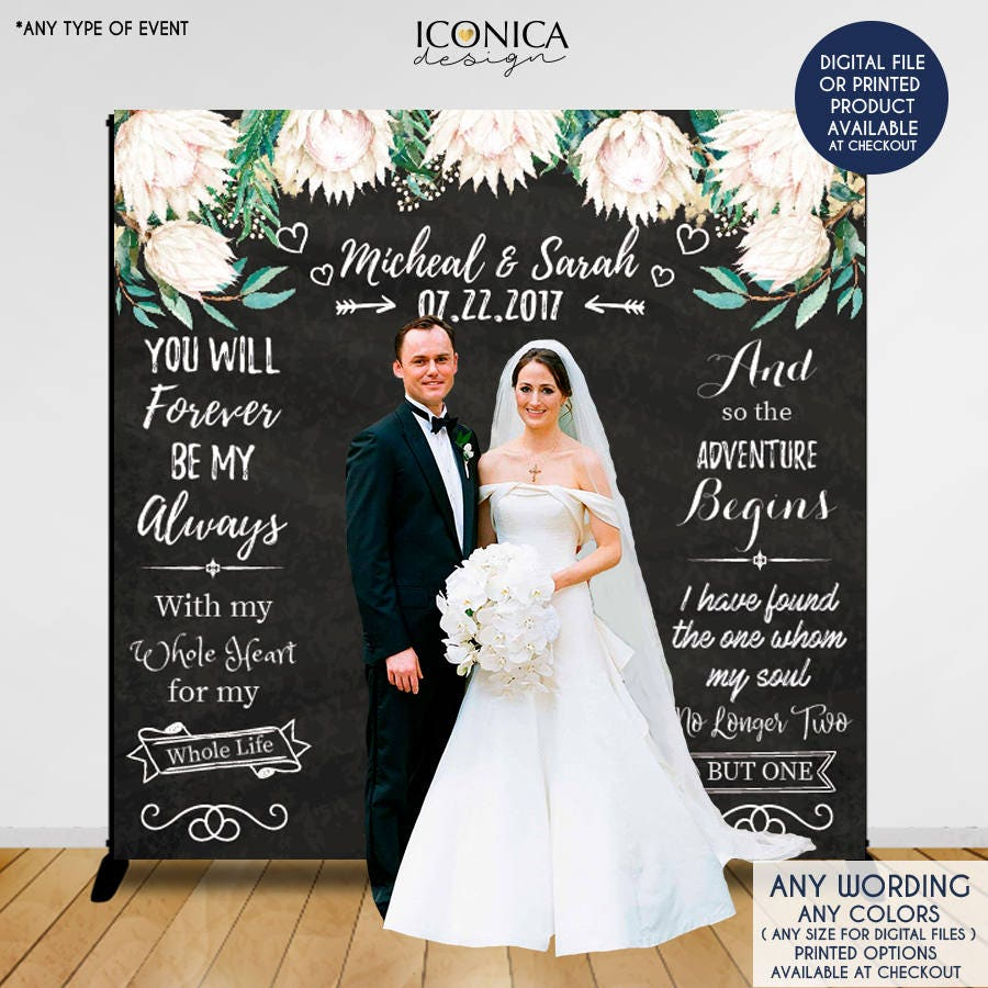 Wedding Photo Backdrop Custom Step And Repeat Engagement Party Banner Floral Printed Or Digital File BWD0008