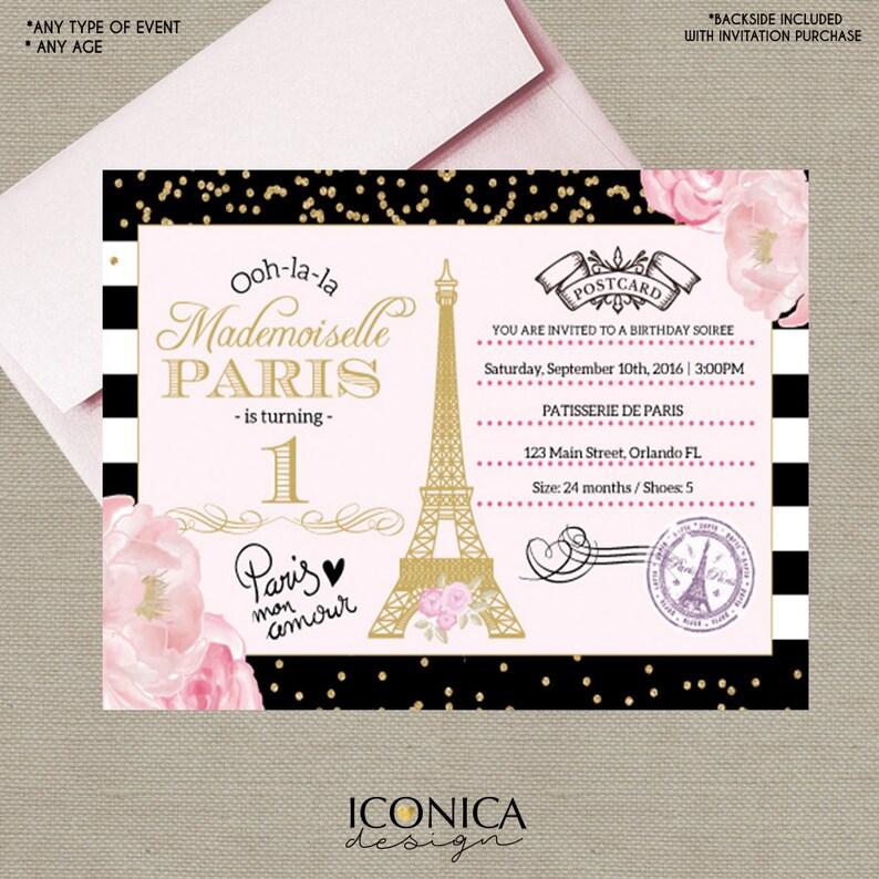 Paris First Birthday Invitation BLACK WHITE Stripes Gold Image 0