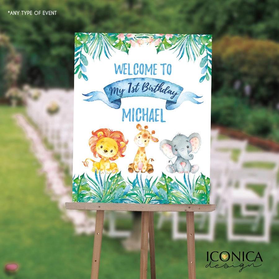Boy Safari First Birthday Welcome Sign Jungle Safari 1st