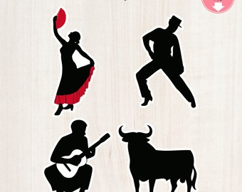 Flamenco Cutouts  Flamenco Themed Cutouts Digital File Spanish Themed Spanish Spain Cutouts Instant Download