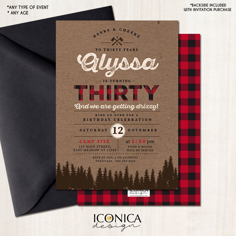Lumberjack 30th Birthday Party Invitation Buffalo Plaid