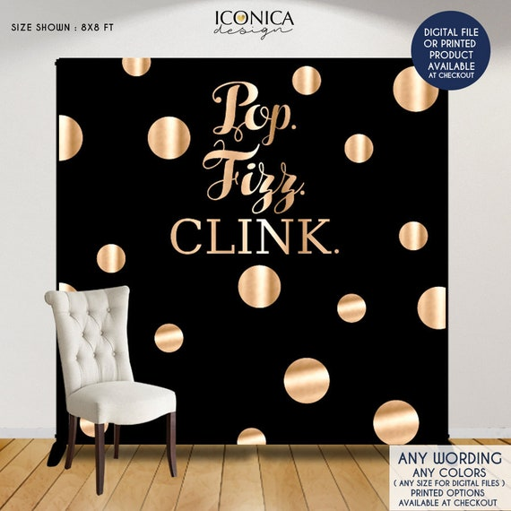 Pop Fizz Clink Photo Booth Backdrop Black And Faux Gold Backdrop